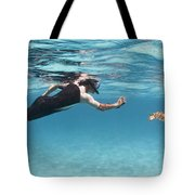 Snorkeler Photographing Green Turtle Tote Bag