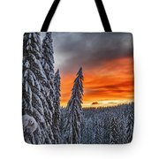 Snow And Sunrise Tote Bag