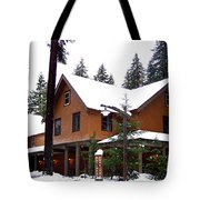 Snow Atop The Inn At Longmire Tote Bag