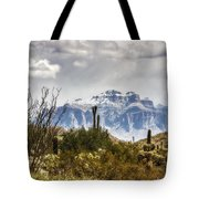 Snow Atop The Superstitions Tote Bag