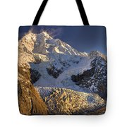 Snow Blowing From Summit Ridge Of Mount Tote Bag