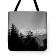 Snow-capped Mountain And Trees Tote Bag