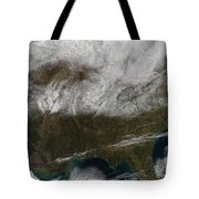 Snow Cover Stretching From Northeastern Tote Bag by Stocktrek Images