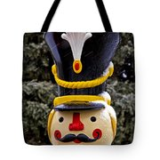 Snow Coverd Toy Soldier Tote Bag