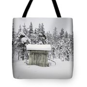 Snow Covered Cabin By Forest Tote Bag
