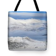 Snow Covered Landscape In Winter Near Tote Bag
