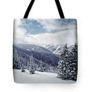 Snow Covered Pine Trees On Mountain Tote Bag