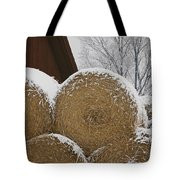 Snow Dusts Rolls Of Hay Tote Bag