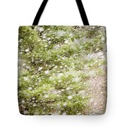 Snow Falling In Front Of Pines Tote Bag