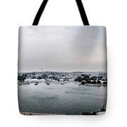 snow in port mahon - A very rare image of a mediterranean villa sided to sea covered of white Tote Bag