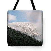 Snow On Black Mountain Tote Bag