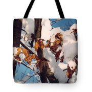 Snow On The Fall Leaves Tote Bag