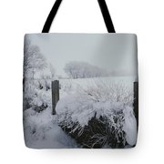 Snow, Rime Ice, And Fog Cover Tote Bag