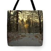 Snow Storm Sunset Tote Bag
