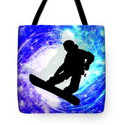 Snowboarder In Whiteout Tote Bag