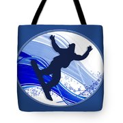 Snowboarding And Snowflakes Tote Bag