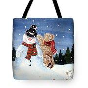Snowman In Top Hat Tote Bag by Gordon Lavender