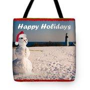 Snowman With Santa Hat Tote Bag