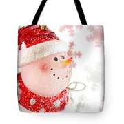 Snowman With Snowflakes  Tote Bag