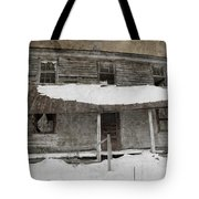 Snowy Abandoned Homestead Porch Tote Bag