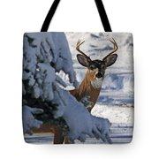 Snowy Buck Tote Bag