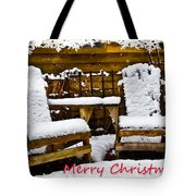 Snowy Coffee Holiday Card Tote Bag