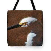 Snowy Egret Profile Painterly Tote Bag