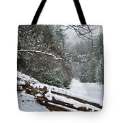 Snowy Fence Tote Bag