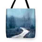 Snowy Foggy Rural Path Tote Bag