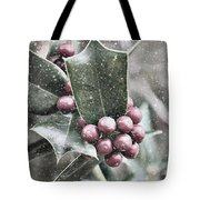 Snowy Holly Christmas Card Tote Bag