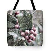 Snowy Holly Tote Bag