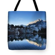 Snowy Mountain Reflections Tote Bag