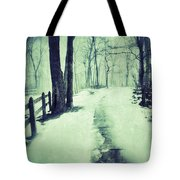 Snowy Wooded Path Tote Bag