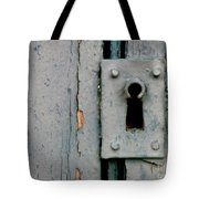 Soft Blue Door And Lock Tote Bag