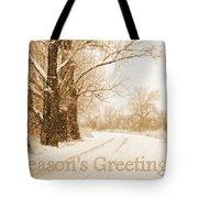 Soft Sepia Season's Greetings Card Tote Bag