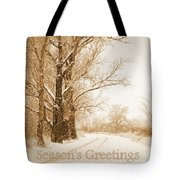 Soft Sepia Season's Greetings Tote Bag