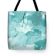 Softness Of Teal Maple Leaves Tote Bag