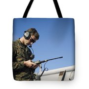 Soldier Conducts A Communications Check Tote Bag