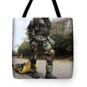Soldier Drags A Simulated Attack Victim Tote Bag