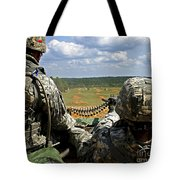 Soldier Feeds Ammunition To His Gunner Tote Bag by Stocktrek Images