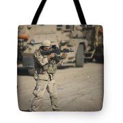 Soldier Fires A M4 Carbine Tote Bag