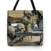 Soldier Firing A M240b Machine Gun Tote Bag