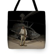 Soldier Holding A .50 Caliber Machine Tote Bag