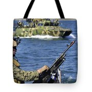 Soldier Mans A M240g Machine Gun While Tote Bag