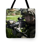 Soldier Provides Security Tote Bag