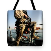 Soldier Stands Watch Aboard Uss Momsen Tote Bag