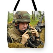 Soldier Using A Ta-1 Sound Powered Tote Bag