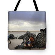 Soldiers Backpacks On The Flight Line Tote Bag
