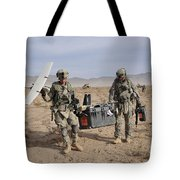 Soldiers Carry An Rq-11 Raven Unmanned Tote Bag