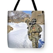 Soldiers Conduct A Patrol In Shah Joy Tote Bag